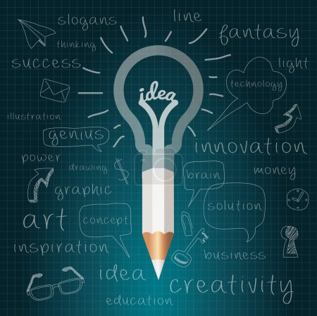 Illustration for Pencil with Light bulb with drawing business success strategy plan idea, Inspiration modern design concept template workflow layout. Vector Illustration Easy editable for Your design. - Royalty Free Image