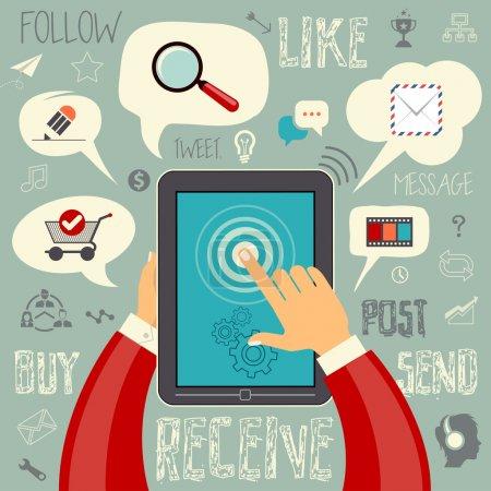 Illustration pour Les médias sociaux signe et le symbole vecteur illustration jeu d'icônes. facilement modifiable pour votre conception. - image libre de droit