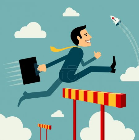 Illustration for Flat style vector business man growth concept. Skip obstacles to success. New business banner. Graphic Design Editable For Your Design. - Royalty Free Image
