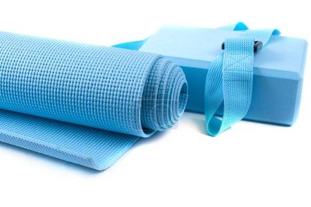 equipment for meditation: yoga mat, belt, block