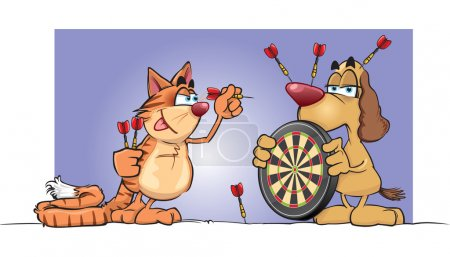 Illustration for A cartoon cat and dog have a game of darts, who wins? - Royalty Free Image