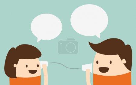 Illustration pour Jeune garçon et fille parler avec téléphone tasse - image libre de droit