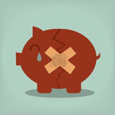 Illustration pour Tirelire avec plâtre concept de crise financière ou de dépression économique - image libre de droit