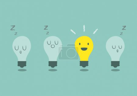 Illustration for Bright idea concept with light bulb - Royalty Free Image