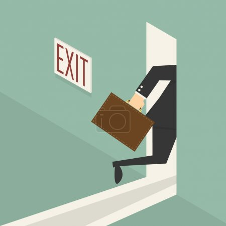 Businessman walking to exit door, eps 10 vector illustration
