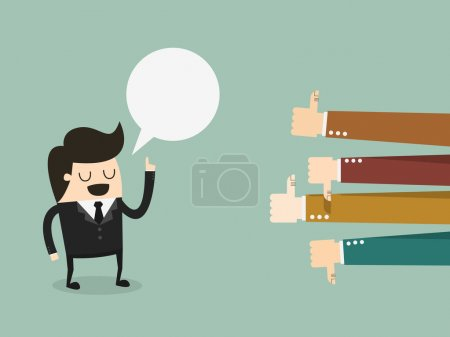 Feedback, businessman talking and positive and negative concepts with thumbs up and down