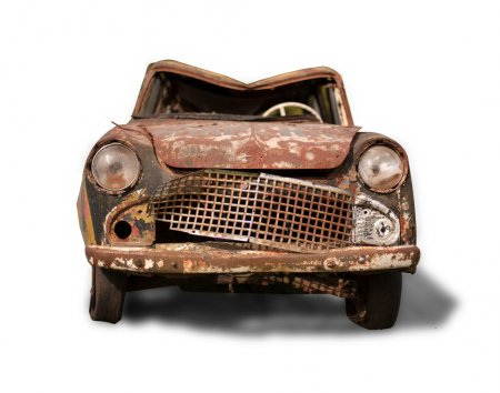 Photo for Old rusty car on a white background - Royalty Free Image