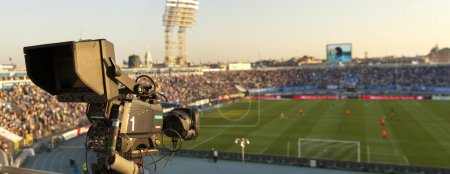 Photo for Video camera back football goal - Royalty Free Image