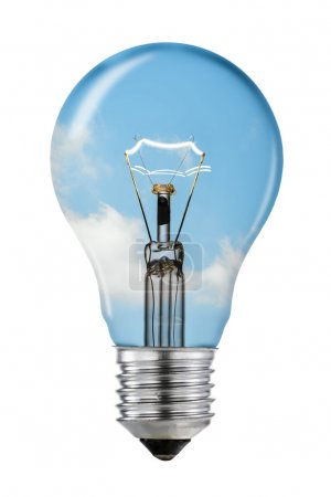 Blue Sky Thinking Lightbulb with Clipping Path