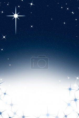 Christmas Night Sky Background with Stars Blue White Gradient