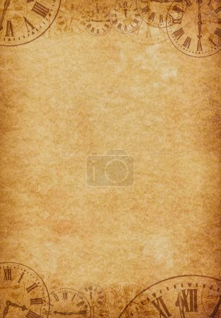 Photo for Vintage grunge parchment background with abstract overlapping vintage clock faces along the top and bottom edges. - Royalty Free Image
