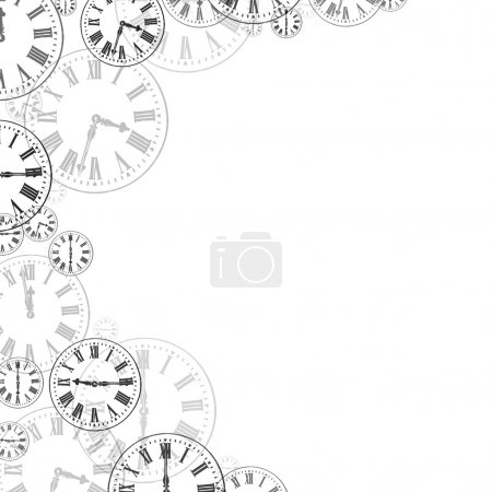 Time Clocks Black & White Background Border