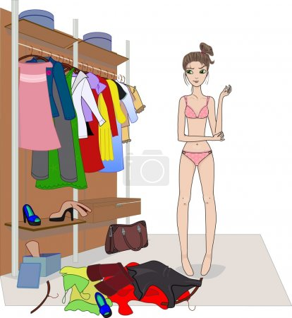Illustration for The girl in underwear chooses clothes - Royalty Free Image