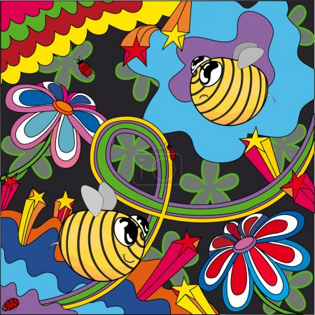 Illustration for The bright bees pop-art - Royalty Free Image