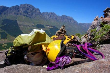 Climbing gear on rocks