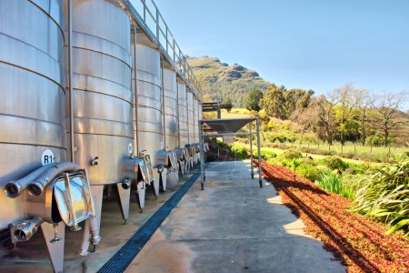 Wine brewing equipment against mountains