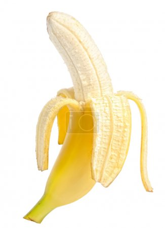 Photo for Open banana isolated on white background - Royalty Free Image
