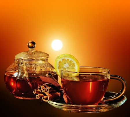 Photo for Cup of tea at sunset - Royalty Free Image