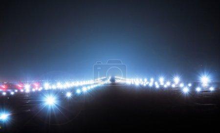 Landing lights at night