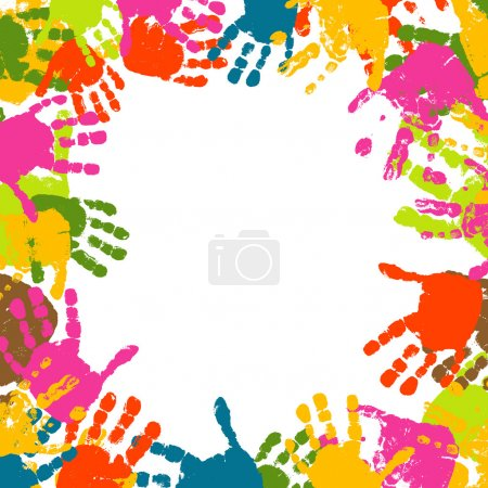 Illustration for Abstract background, prints of hands of the child, vector illustration - Royalty Free Image