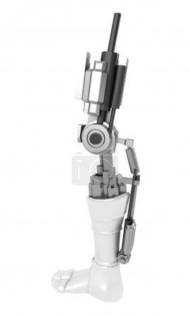 Photo for Strong stylish futuristic robot arm prosthesis. Plastic brawny cyber leg - Royalty Free Image