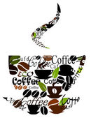 Coffee cup made of various captions cups and beans Vector illustration