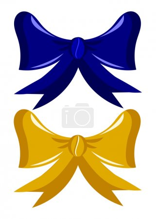 Illustration for Two gift bows gold and dark blue over white - Royalty Free Image
