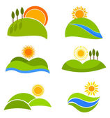 Landscape nature icons with suns and hills for design Vector illustration