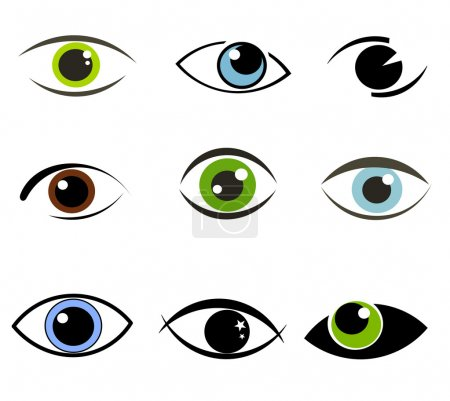 Illustration for Collection of eyes icons and symbols. Vector illustration - Royalty Free Image