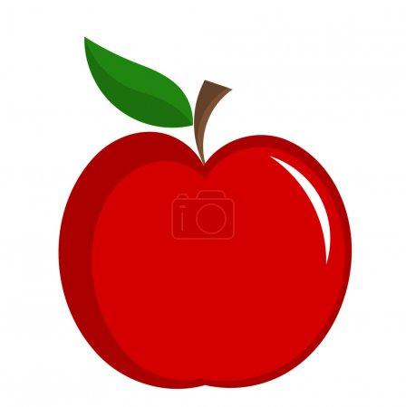 Illustration pour Pomme rouge avec illustration foliaire isolée. Icône vectorielle - image libre de droit