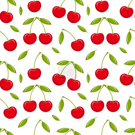 Illustration for Cherries - seamless vector pattern - Royalty Free Image