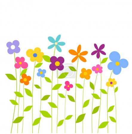 Illustration for Cheerful fantasy spring flowers growing. Vector illustration - Royalty Free Image