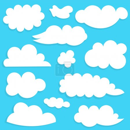 Illustration for Clouds collection on blue sky. Vector illustration - Royalty Free Image