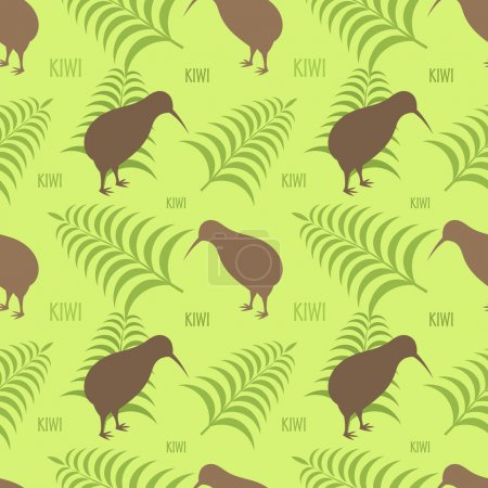 Kiwis and ferns - New Zealand seamless texture...