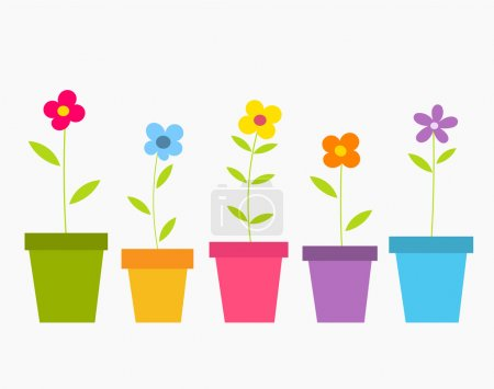 Illustration for Cute spring colorful flowers in pots. Vector illustration - Royalty Free Image