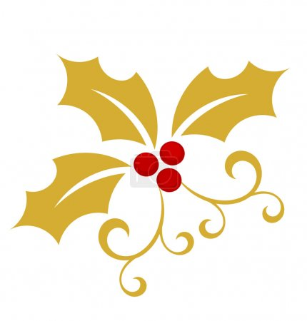 Gold holly berry - Christmas symbol. Vector illust...