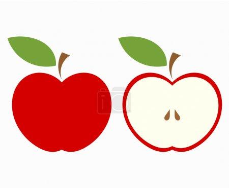 Red apple cut