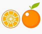 Orange fruit with leaf and slice Vector illustration