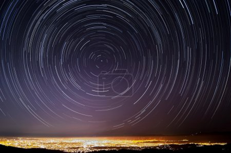 Photo for The accumulated star trails above Silicon Valley, California. - Royalty Free Image