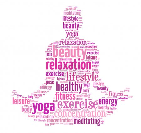 Photo for Text, word cloud, word collage composed in the shape of a woman doing yoga meditation pose, woman fitness series - Royalty Free Image
