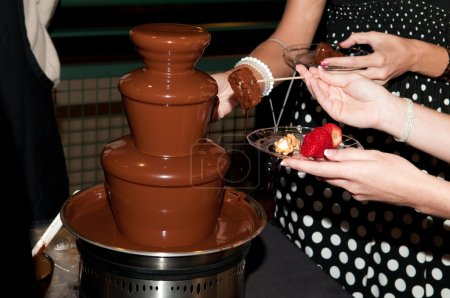 Chocolate fountain at a wedding