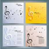 Set of musical banners with musical key and notes Abstract background Vector illustration