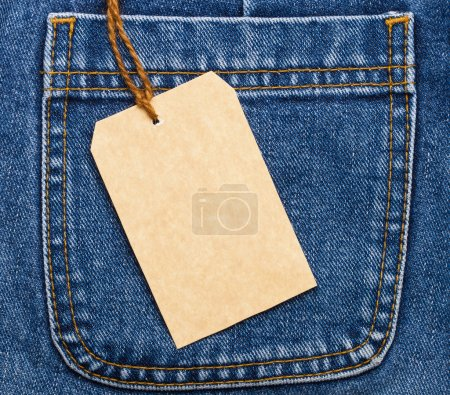 Jeans pocket and price tag