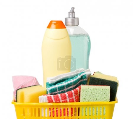 Powder cleanser and dish soap in basket