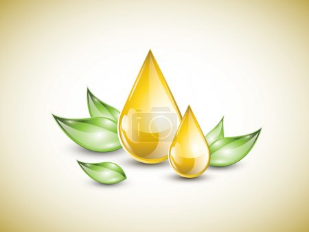 Illustration pour Grandes gouttes d'huile jaune sur les feuilles vertes - image libre de droit