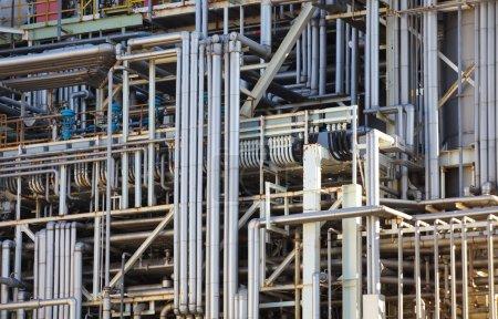 Photo pour Raffinerie pétrochimique de plante ou de l'huile industrielle - image libre de droit