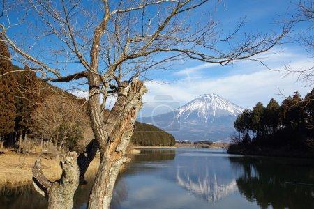 Mountain Fuji and Achi lake in winter season