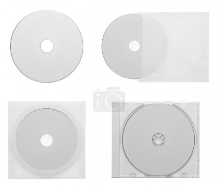 Collection of various CD - DVD isolated on white