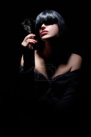 Beautiful Sexy Girl Portrait. Black Hair. Sensual red lips