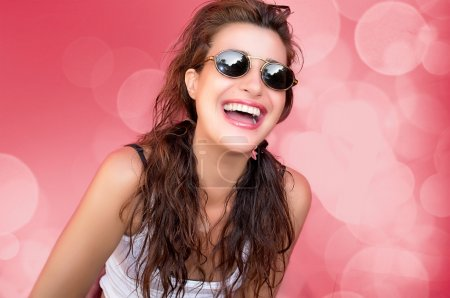 Beauty Party Girl Laughing. Happiness